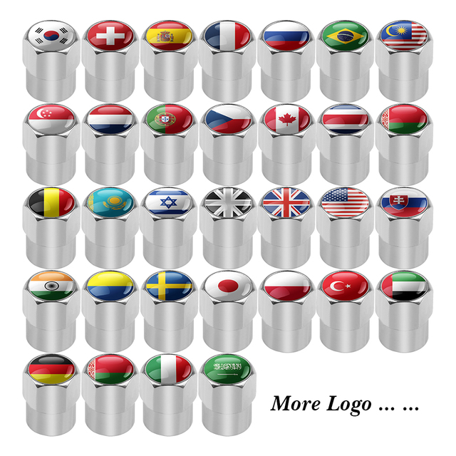 UK USA ITALY FRANCE GERMAN RUSSIA JAPAN National Flags Car Wheel Tires Valves Aluminum Tyre Stem Air Caps Decorating Accessories 5