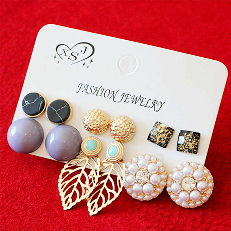 New fashion women's jewelry wholesale girl pearl studs pretty feeling gray mixed style 6 pairs /set earrings gift agent shipping