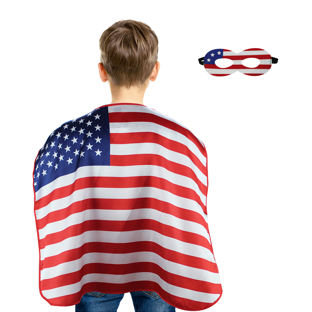 70*70 cm SPECIAL High Quality American Flag Costume Cape USA Patriotic Flag Cloak for Child National Day Shows Event Kits