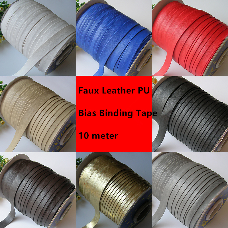 15mm Width 10M Faux Leather PU Bias Binding Tape Bag Dress