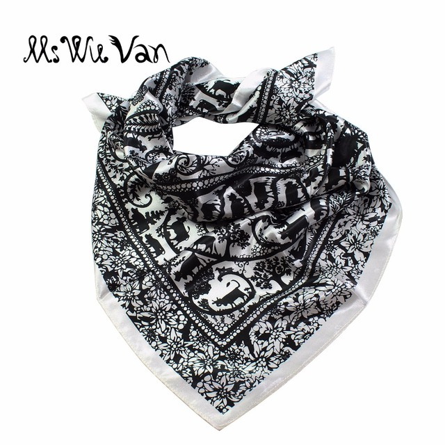 e31d731f2 Well-known Floral Bandana Men Animal Satin Big Square Silk Scarf Print  Pastel JH32
