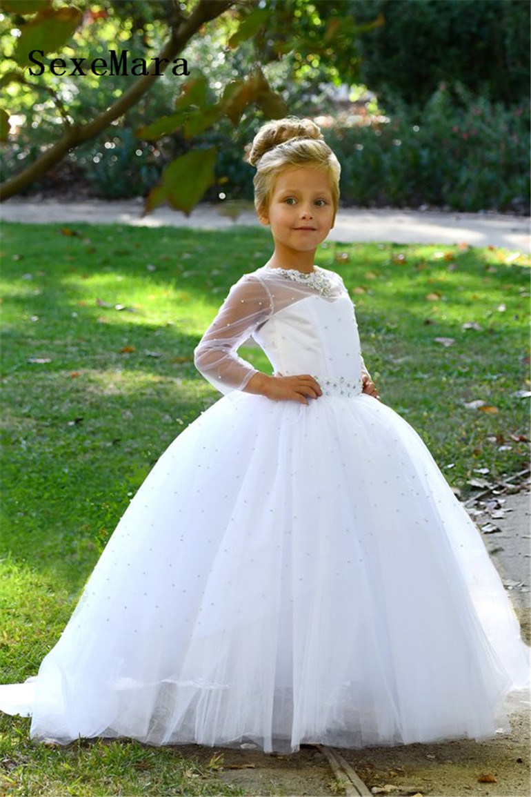 1524578b7d White Flower Girl Dress for Wedding Long Sleeve Girls First Communion Dress  Lace Pearls Beading Christmas Dress Birthday Gown - aliexpress.com -  imall.com