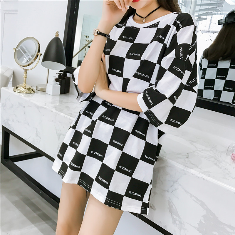 Korean Black White Lattice Printed Big Size Long T Shirt Ladies Street Hip Hop T-shirts Summer Women Casual Loose Harajuku Tops