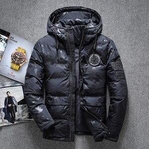 Image 4 - ฤดูหนาวใหม่อบอุ่นเป็ดสีขาว Downs แจ็คเก็ตผู้ชาย Outwear หิมะหนา Parkas Hooded Coat ชาย Windproof Downs เสื้อผู้ชาย