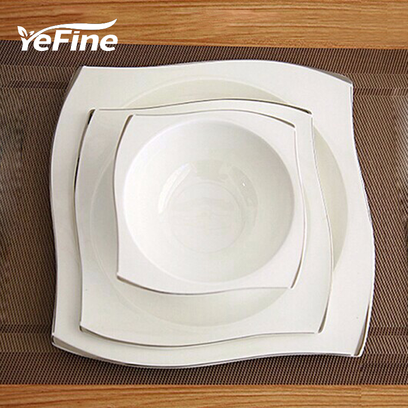 YeFine Advanced Bone Porcelain Tableware Set Square Dinner Plates Dishes High Quality White Ceramic Dinnerware Sets Soup Bowls