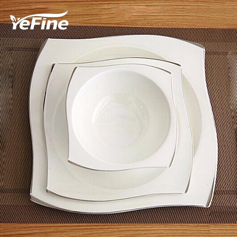 YeFine Set de vaisselle en porcelaine osseuse avancée assiettes carrées plats vaisselle en céramique blanche de haute qualité ensembles bols à soupe
