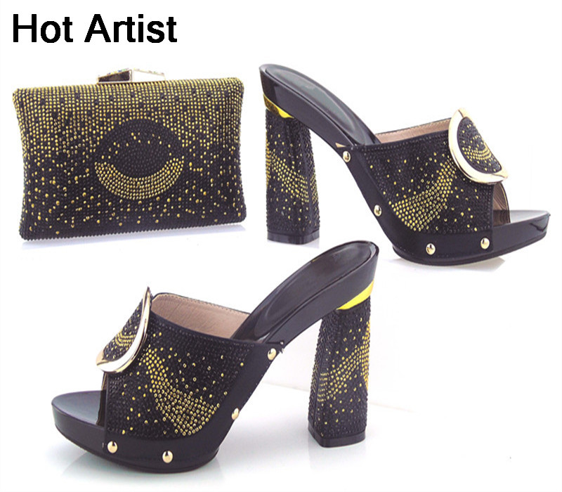 Hot Artist New Arrival Italian Ladies Shoes With Matching Bag Set For Wedding Party Fashion Women Pumps Shoes And Bags Set  hot artist african style slipper shoes and matching bag set fashion rhinestone ladies pumps shoes and bag set for party me7708