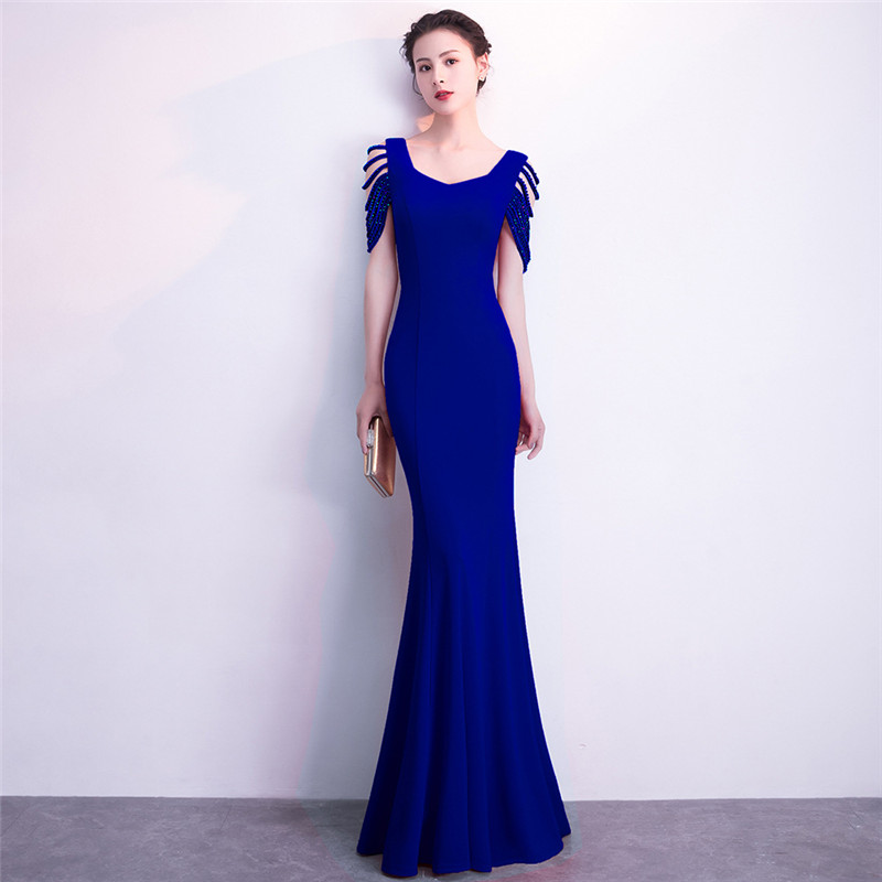 Blue Asymmetrical Neckline Hollow Out Beaded Short Sleeve Sexy Party Night Clubwear Dress Slim Mermaid Long Elegant Dresses 2018