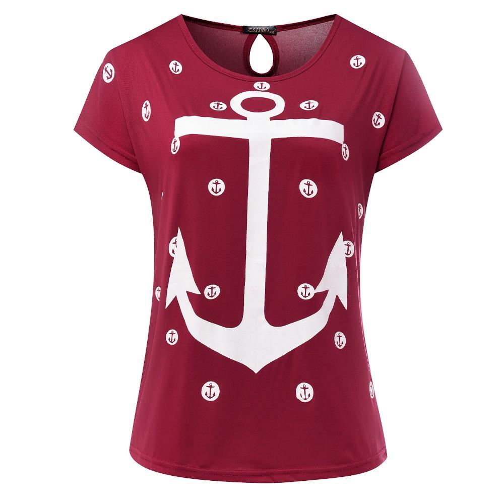 HTB1jla7OVXXXXXKaVXXq6xXFXXXd - Tops Tee ladies Short Sleeves t shirt women Boat anchor t-shirt