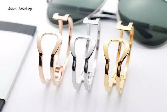 Unique Designer Geometric Double Lines Cuff Bracelet,Stainless Steel in 3 Gold Plated Colors,Cool Open Bracelet Bangle For Women