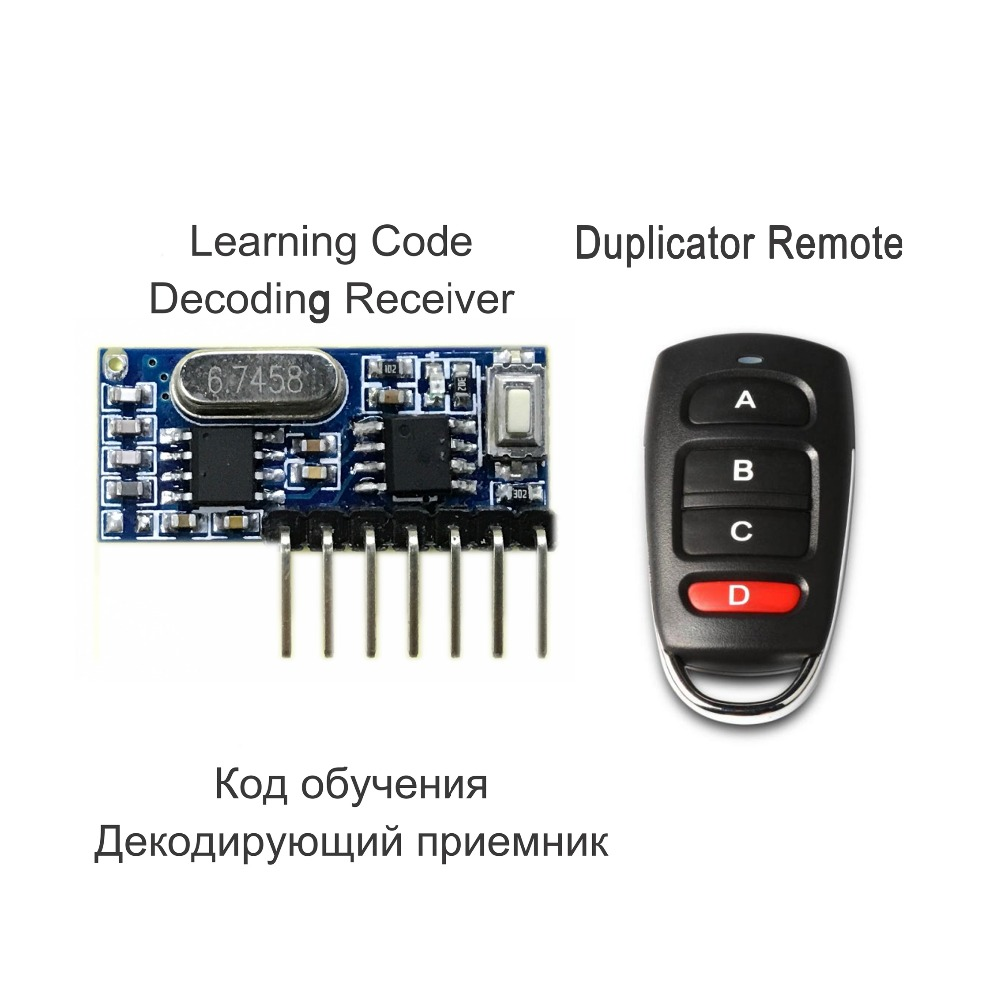RF Remote Control Transmitter & 433Mhz Wireless Receiver Learning Code 1527 Decoding Module 4-Ch Output With Learning Button chunghop rm l7 multifunctional learning remote control silver