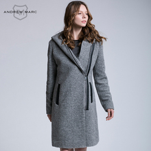ANDREW MARC 2016 Trending Fashion Women Wool Blends Autumn Winter Windproof Slim Figure Female Outwear Coat TW6AW603