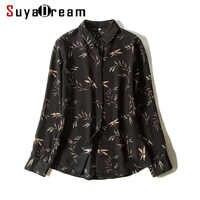 Женская блузка из 100% натурального шелка, черная офисная блузка с принтом и отложным воротником, Осень-зима 2019