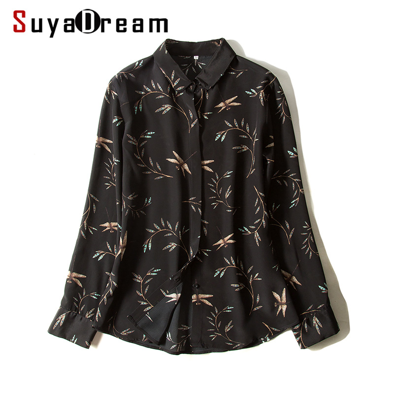 Women Blouse 100% REAL SILK Crepe Printed Blouse Shirt Office Lady Turn Down Collar Blouses 2019 Fall Winter Black Shirt