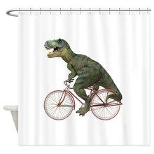 Cykel Tyrannosaurus Rex Dekorativa Tyg Dusch Gardin Set Slipfritt Badmat Set för Dörrmatta Utomhus