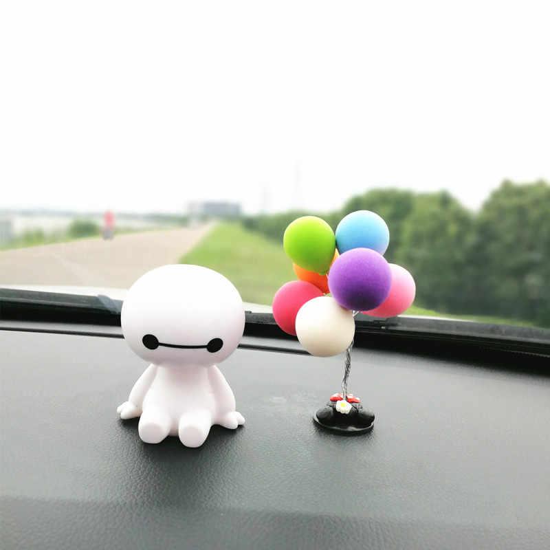 Bobblehead Baymax figurita coche Dash ornamentos Linda cabeza sacudida juguetes para coche vehículo Auto tablero decoración globo Interior