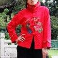 Женская топ национальный trend женские хлопчатобумажные жаккардовые павлин вышитые с длинными рукавами пальто верхняя одежда многоцветный