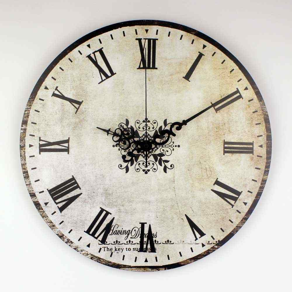Brand Absolutely Silent Vintage Large Decorative Wall Clock With Waterproof Clock Face And Roman Number Retro Wall Decor Watch Brand Wall Clock Wall Clockwall Clock Brands Aliexpress
