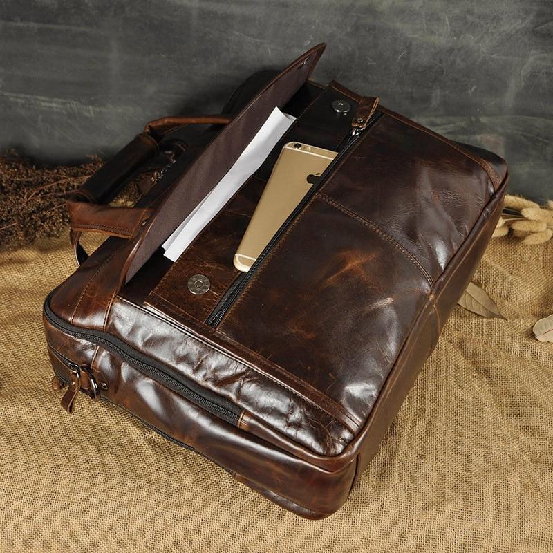 HTB1jlafErrpK1RjSZTEq6AWAVXal Men Oil Waxy Leather Antique Design Business Briefcase Laptop Document Case Fashion Attache Messenger Bag Tote Portfolio 7146