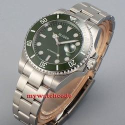 43mm bliger zielona tarcza GMT niebieskie świecące szafirowe szkło automatyczny męski zegarek P28|Zegarki mechaniczne|Zegarki -