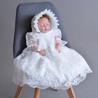 Newbron Baby girl lace Dress Christening Birthday Wedding Party Baptism Infant Princess Full long Dresses White Beige + Hat