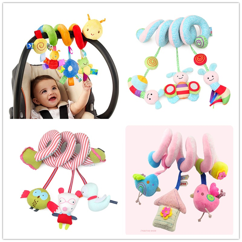 Cute Plush Animal Rattles Spiral Baby Toys Soft Infant Crib Bed Stroller Toy Bed Hanging Early Educational Toys Rattle Baby Gift
