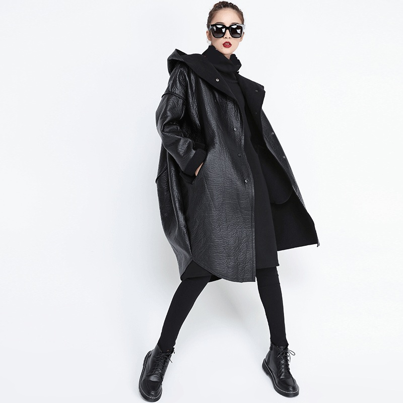 Autumn Winter Causal Women Hooded Faux   Leather   Long Jacket Loose Boyfriend Long Sleeve Black PU Coat Split Joint Thicken Jacket