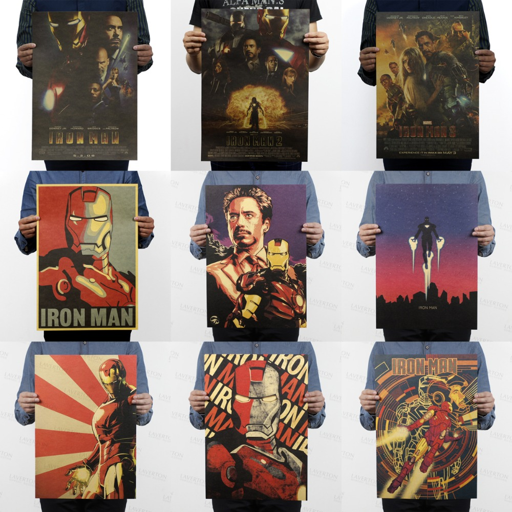 Free Shipping,Iron Man/Tony Stark/Robert Downey/classic Movie/kraft Paper/bar Poster/Retro Poster/decorative Painting 51x35.5cm