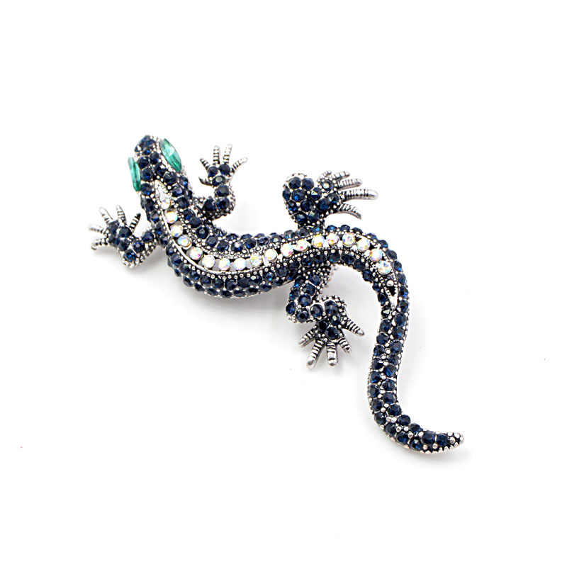 CINDY XIANG Rhinestone Lizard Brooch Dark blue Color Body Green Eye Gecko Brooches Fashion Jewelry Animal Style Vintage Pin Gift