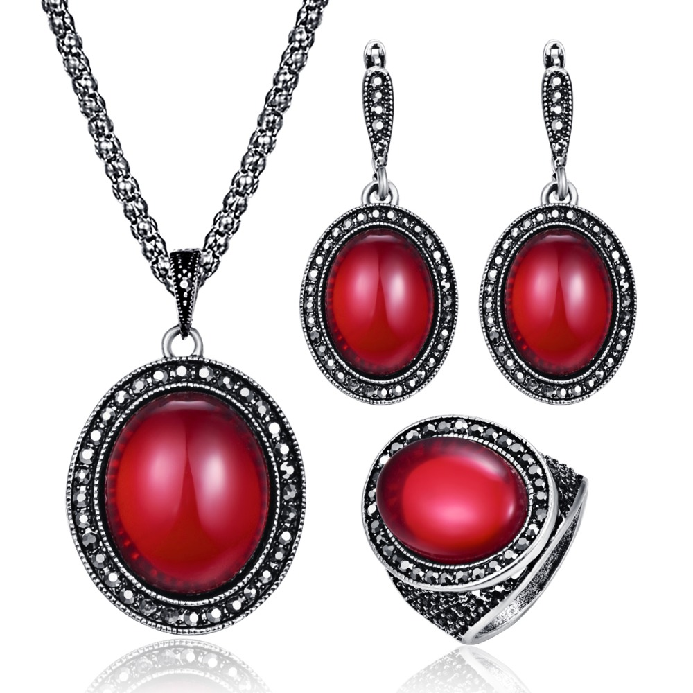 Vintage Wedding Jewelry Sets Antique Silver Full Rhinestone Red Resin Stone Pendant Necklace Earrings Ring Set