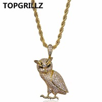 TOPGRILLZ Hip Hop New Style Necklace Copper Gold Silver Color Iced Out Micro Pave CZ Stone