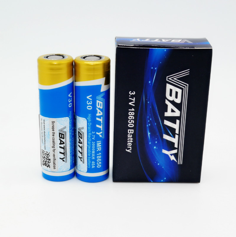 Vbatty IMR V30 <font><b>18650</b></font> <font><b>3000mah</b></font> 40A 3.7V high drain <font><b>battery</b></font> with flat top PK <font><b>LG</b></font> <font><b>18650</b></font> <font><b>HG2</b></font> <font><b>3000mah</b></font> <font><b>20A</b></font> 3.7V rechargeable batte(1 pc) image