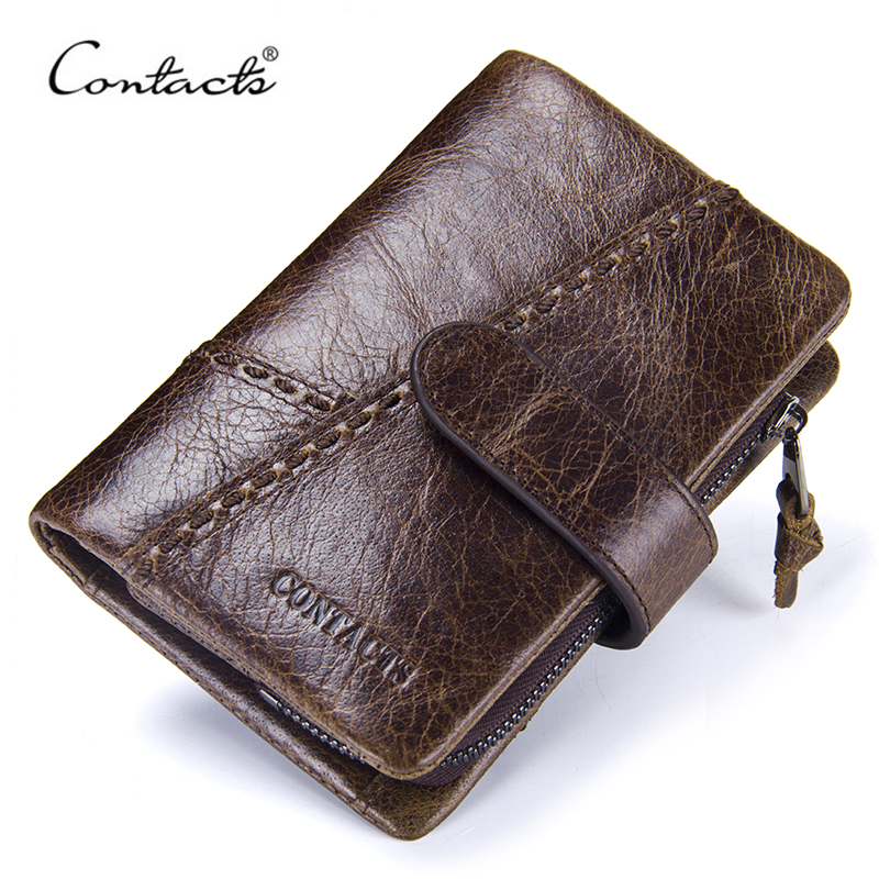 CONTACT'S Casual Men's Genuine Leather Short Wallet Hasp Design Key Holders Clutch Purse With Zipper Pouch Wallet Gift For Men