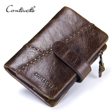 CONTACTS Casual Mens Genuine Leather Short Wallet Hasp Design Key Holders Clutch Purse With Zipper Pouch Wallet Gift For Men