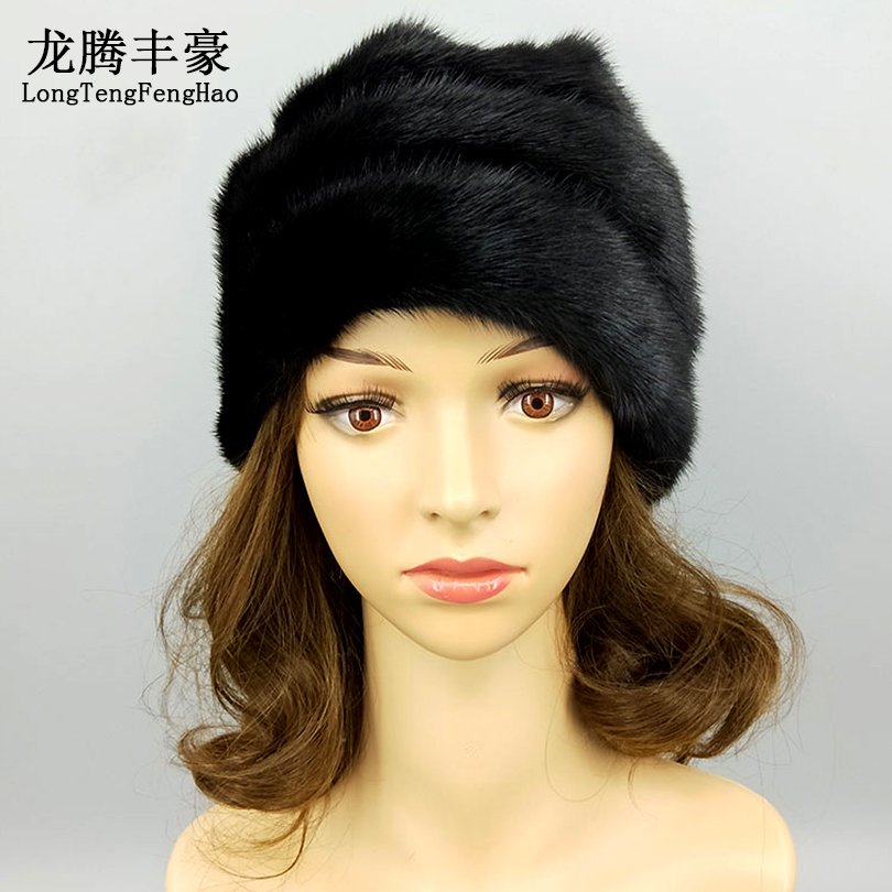 Haute qualité femmes casquette vison fourrure bonnets hiver chaud réel fourrure chapeaux avec pompon femme russe chapeau casquette dame décontracté taille unique - 5