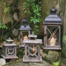American retro old romantic wood candlestick wind lamp aromatherapy home decoration table