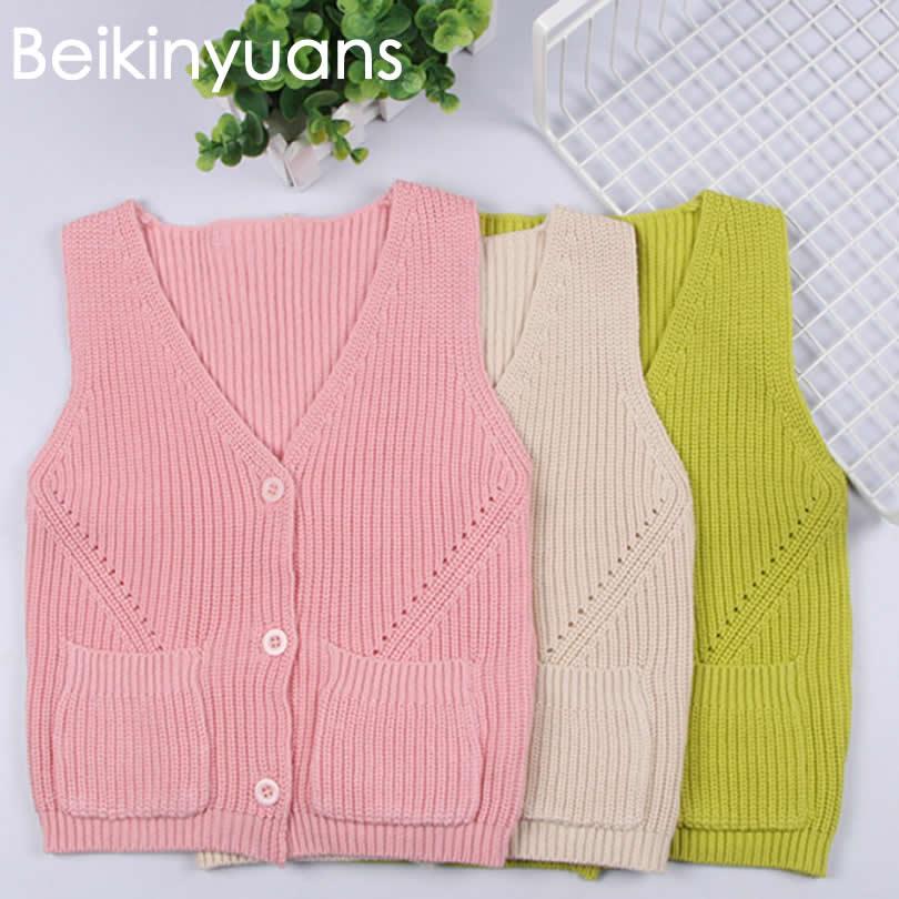 Baby autumn Winter Coats Outerwear Knitting Wool Princess Girls Vest Kids Jackets Baby Boy Waistcoat Beikinyuans