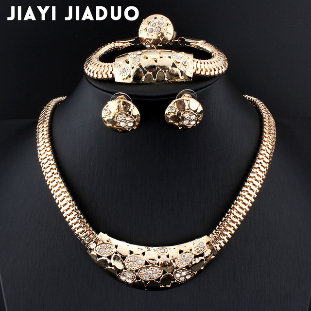 Jiayijiaduo Wedding Fine Jewelry African Costume Set Gold Color Bridal Sets Party Earing And