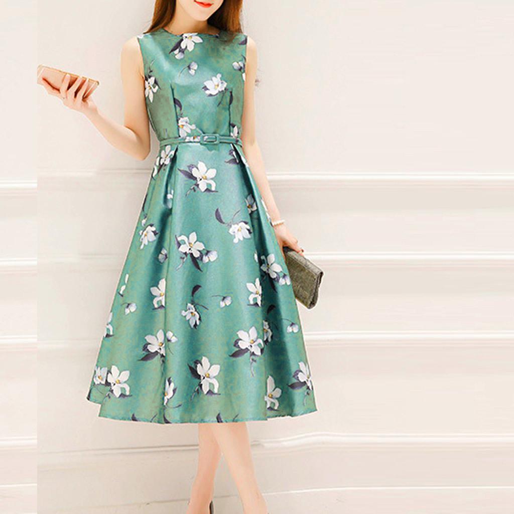 2019 Summer Dress Fashion Casual Women Girls Summer Polyester Belt Sleeveless O-Neck A-line Mid-Calf Printing M-3XL Dress Z4