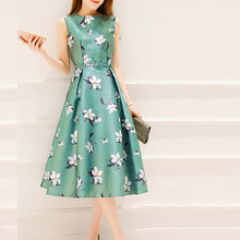 2019 summer dress Fashion casual Women girls Summer polyester Belt Sleeveless O-