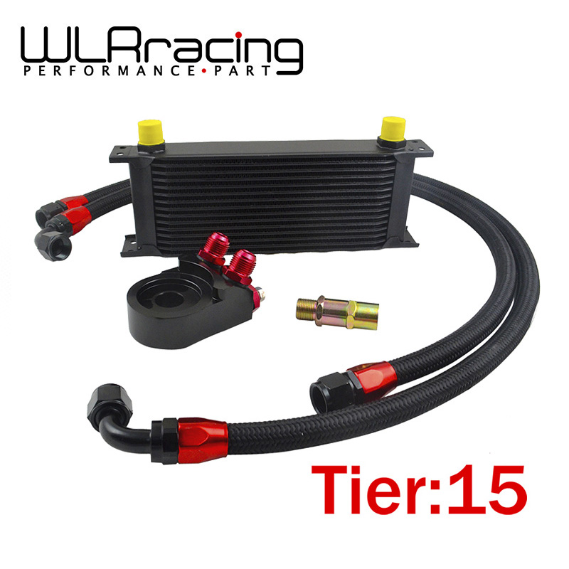 WLR - Universal 15 ROWS OIL COOLER ENGINE + AN10 Oil Filter Cooler Sandwich Plate Adapter Black + 2PCS NYLON BRAIDED HOSE LINE universal 28 row jdm engine oil cooler kit sandwich plate fit for ls1 ls2 ls3