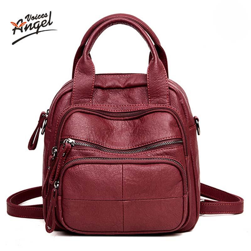 2018 Women Multifunction Backpack Leather Women Shoulder Bags Large Capacity Backbag Female Zipper School Bag Travel Bag Mochila
