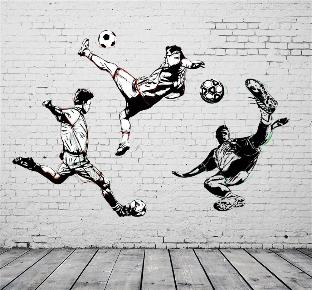 [Self-Adhesive] 3D Brick Football Sports 230 Wall Paper mural Wall Print Decal Wall Murals