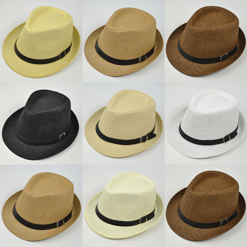 2018 Retro Straw Fedoras Top Jazz Plaid Hat Spring Summer Bowler Hats Cap Classic Version Hats Casual Beach Hat For Men Women