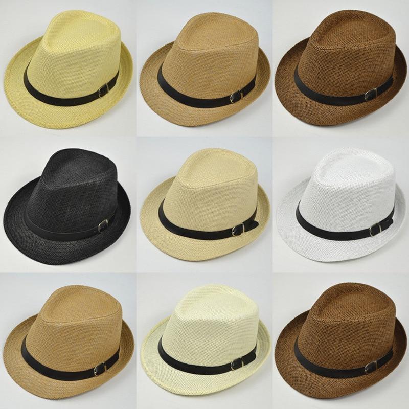2018 Retro Straw Fedoras Top Jazz Plaid Hat Spring Summer Bowler Hats Cap Classic Version Hats Casual Beach Hat For Men Women
