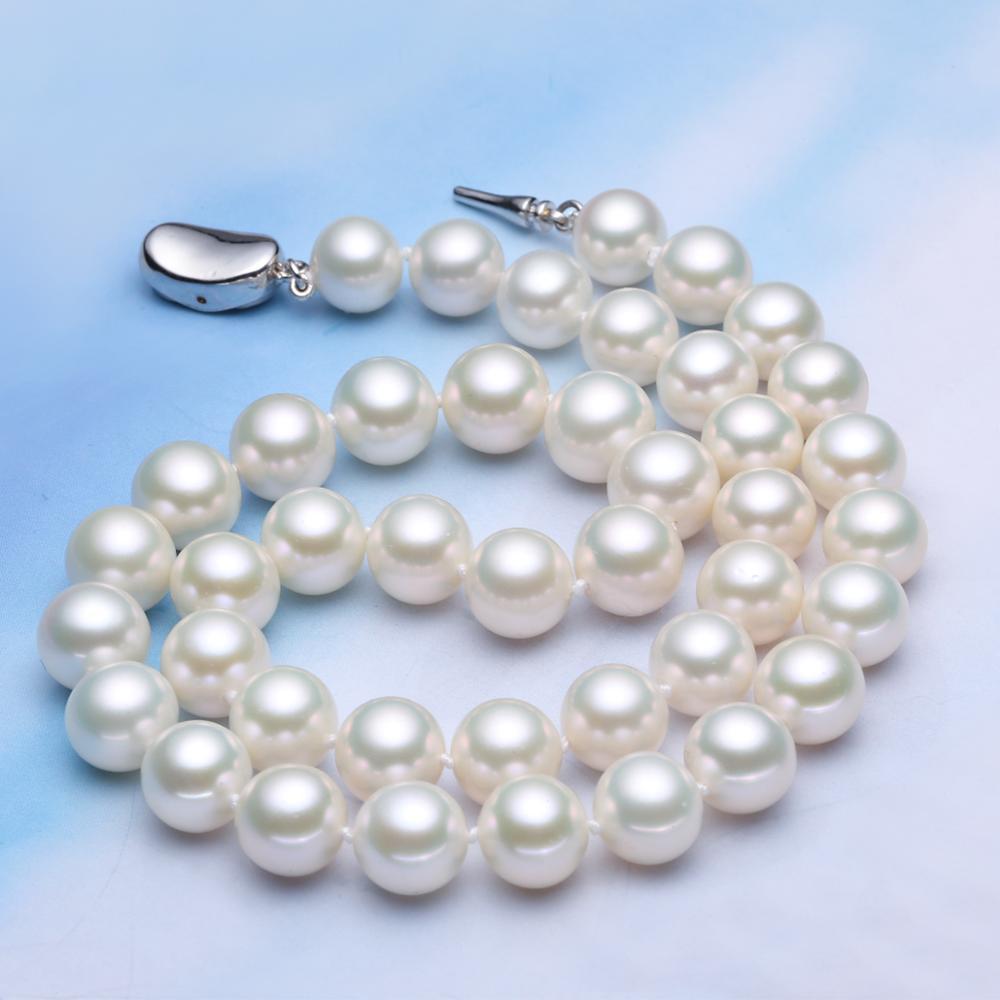 925 argent véritable naturel grand Cano Cindy [10-11] Fuyuan collier de perles d'eau douce lumière ronde envoyer maman clavicule cadeau collares