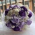Nueva moda de gama alta personalizado ramo de la boda nieve cinta del hilado de la perla del ornamento de Color púrpura mezcla nupcial que sostiene las flores SH31
