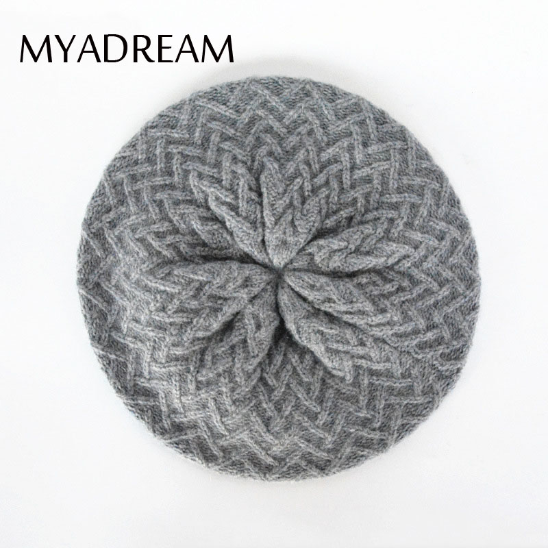 MYADREAM Wool Blend Beret Classic Floral Pattern Knitting Baret Hats For Women Elegant Winter Cap Boina