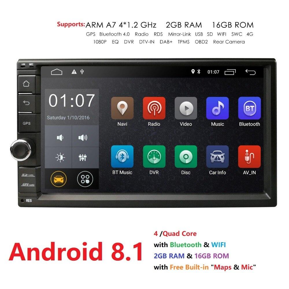 2 GB RAM 16G ROM 2Din HD 7 ''Android 8.1 Universel De Voiture radio stéréo navigation gps lecteur multimédia enregistreur à bande CFC DVR DVB-T