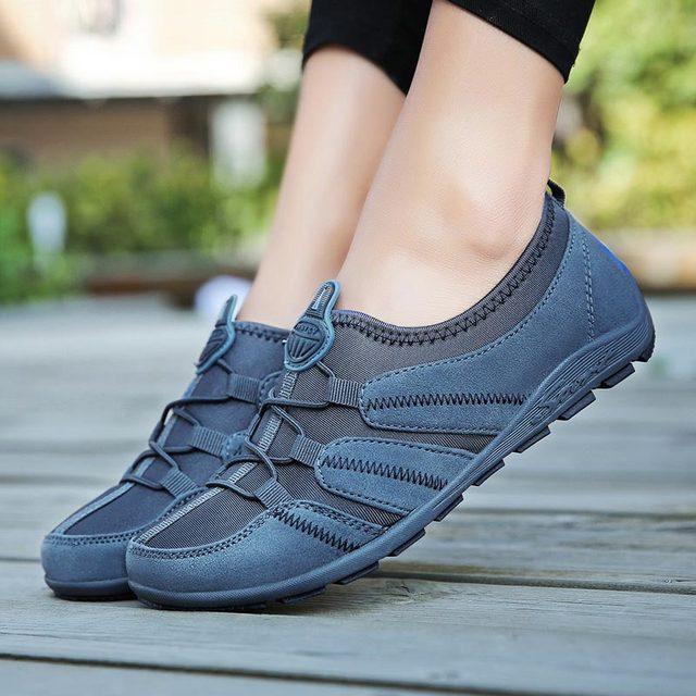 Chaussures de course à enfiler pour femmes, baskets pour femmes, de Sport, bleues, 2019
